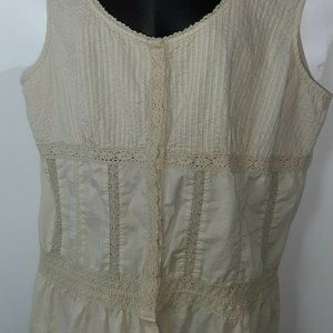 Faded Glory Sleeveless Tan Old Fashioned Top 1XL